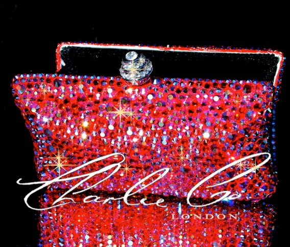 Swarovski Fire Rock Red Curved Clutch