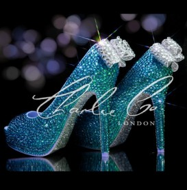 4  5 or 5.5 Deep Sea Crystal Jewelled heels