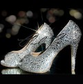 4 or 5 Glass Diamond Crystal Peep Toe Platform Heels