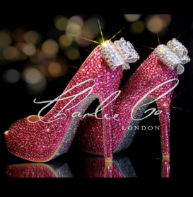 4  5 or 5.5 Pretty In Pink Glass Crystal heels