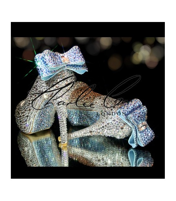 4  5 or 5.5 Bella Blue Bow Crystal Heels