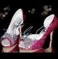 3.5 Pink Crystal Mesh Bow Heels