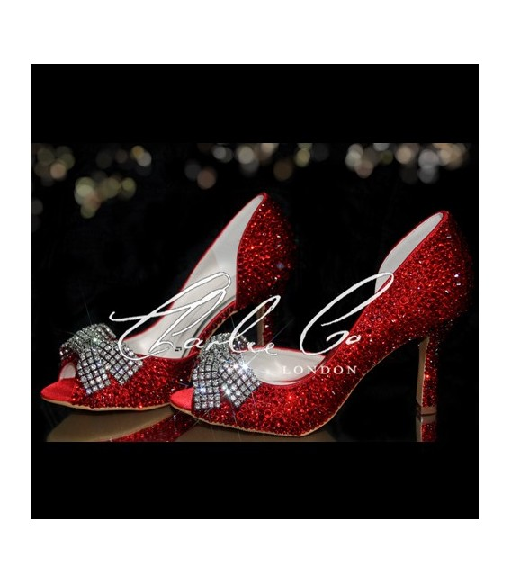 3.5 Peep Toe Red Crystal Mesh Bow Heels