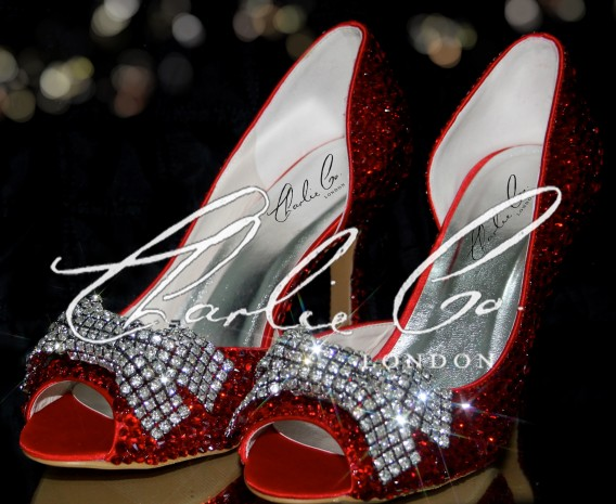 3.5 Peep Toe Red Crystal Mesh Bow Heels