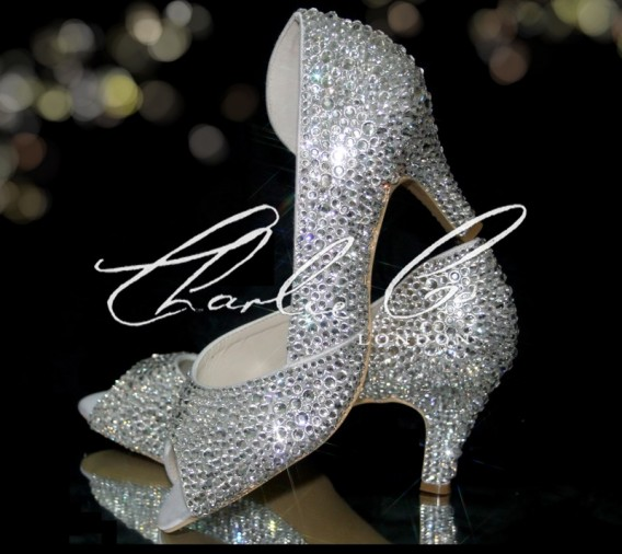 2.5 Peep Toe Crystal Cut Away Heels