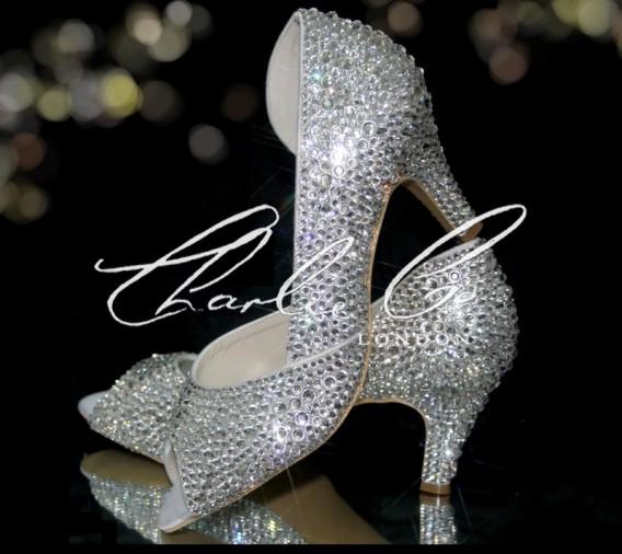 2.5 Peep Toe Crystal Cut Away Heels