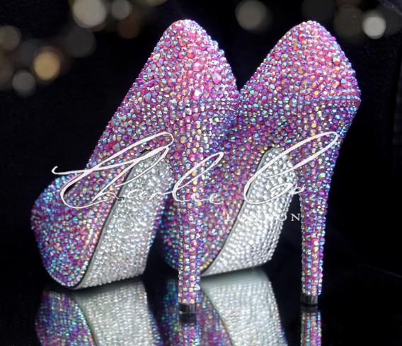 4 or 5 Fuchsia Pink AB Peep Toe Heels