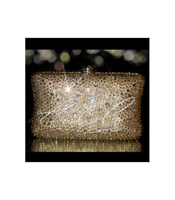 Champagne Crystal Hard Case Clutch Bag