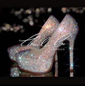 6 YSL Style Swarovski  Glass Crystal Heels