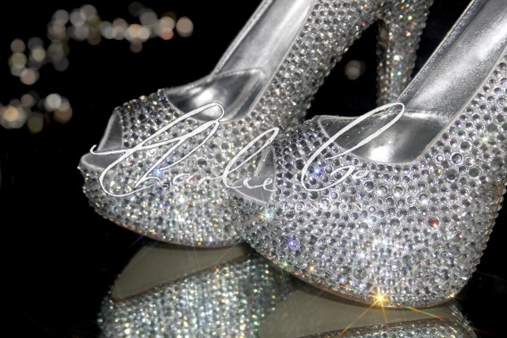 4  5 or 5.5 Diamond Bow Crystal heels