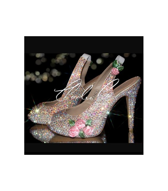 4.5 Dolls House 3D flower Crystal Slingbacks
