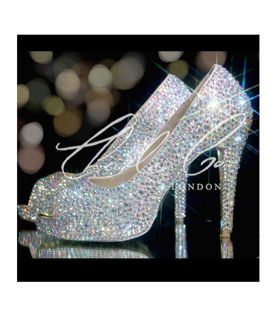 4 or 5 Glass AB Crystal Peep Toe Heels