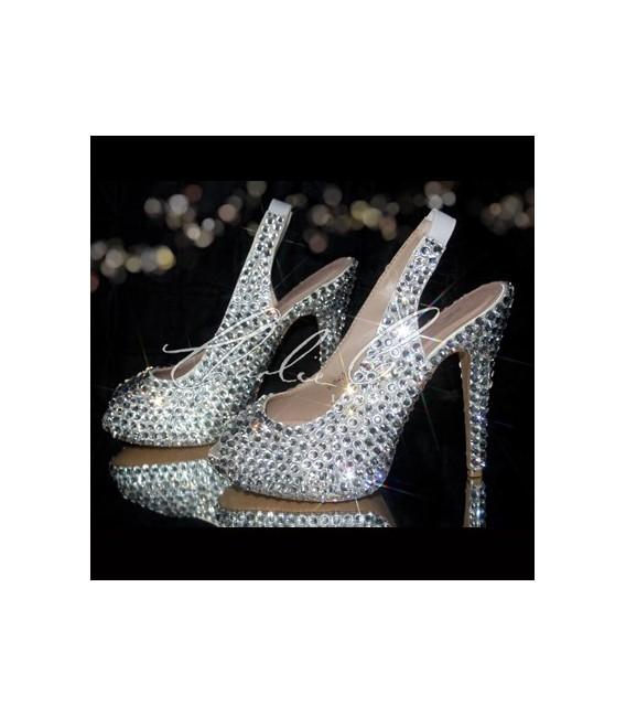 5 Jumbo Diamond Slingback Peep Toe Crystal Heels
