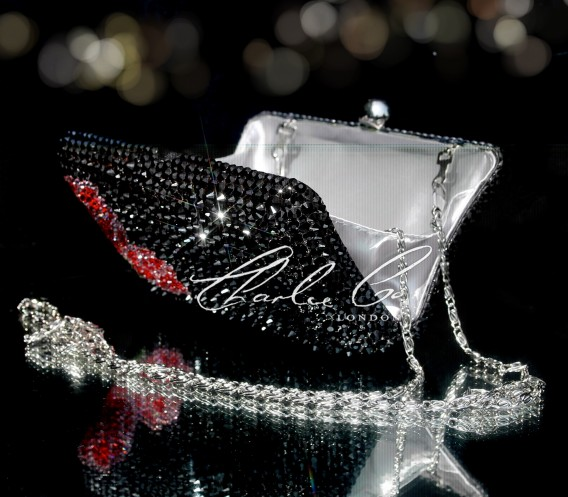 Black Rose Series Crystal Clutch Bag