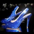 4.5 Sapphire Crystal Slingback Peep Toe Heels