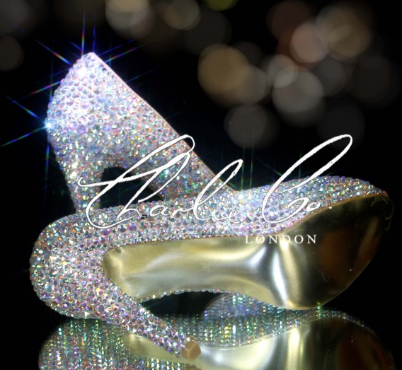 4 or 5 Glass AB Crystal Peep Toe Heels