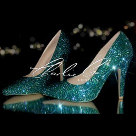 4.5 Swarovski Emerald AB Pointed Toe Stilettos