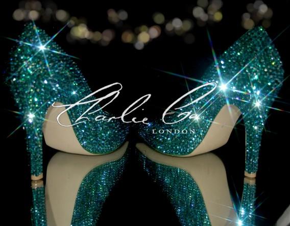4.5 Swarovski Emerald AB Pointed Toe Stilettos