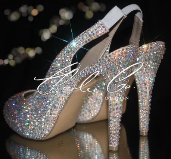 4.5 Slingback Crystal Peep Toe Heels