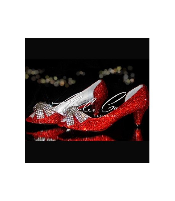 2.5 Red Crystal Mesh Bow Heels