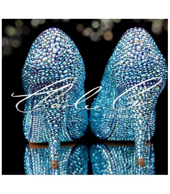 4 or 5 Swarovski Aquabohemica AB Leather Peep Toes