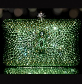 Lilly in Peridot Green Crystal Clutch Bag