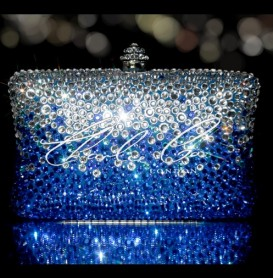 Blue Rain Crystal Clutch Bag