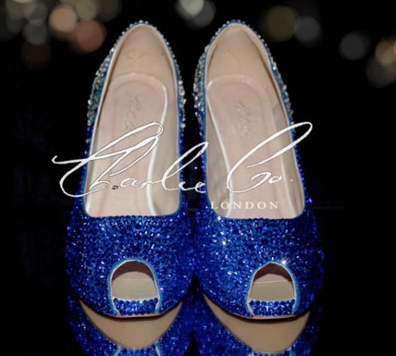5 or 4 Blue Rain Crystal Heels