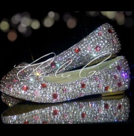 0 Clear Diamond Frost Pink Stone Crystal Flats