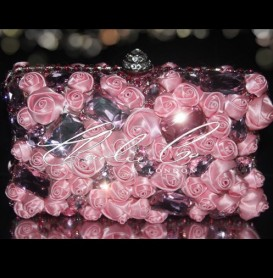 Pink Rose Crystal Clutch Bag