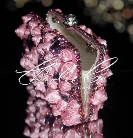 Pink Rose Crystal Clutch Bag