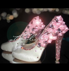 4 or 5 Pink Satin Rose Crystal Heels