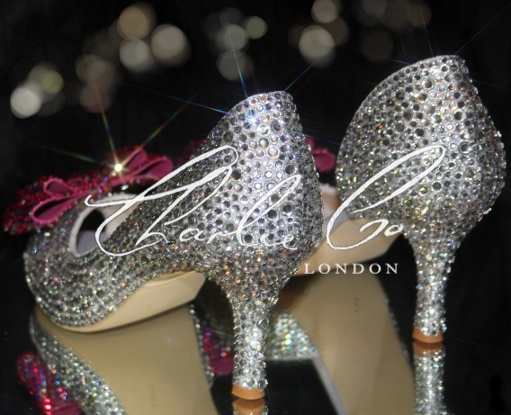 3 Crystal bow cut away heels