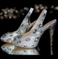 4.5 Black Diamond Leopard Print Crystal Heels