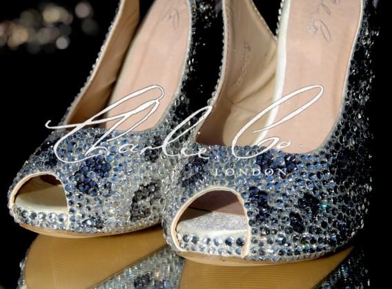 4.5 Black Diamond Leopard Print Crystal Heels