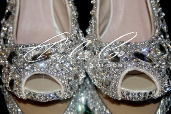 4.5 Slingback Ice Crystal Diamond Frost Heels