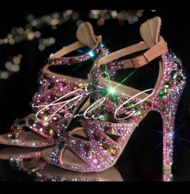 4 Jungle Jewel Crystal Sandal Heels