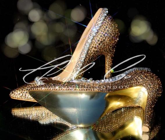 4 or 5 Swarovski Vintage Champagne Pointed Toe Heels