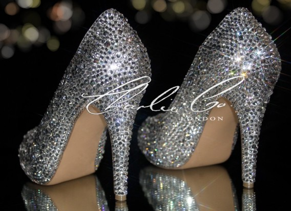 4 or 5 Clear Crystal Closed Toe Heels