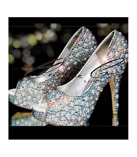 4 or 5 Ivory Pearl  AB Crystal Pearl Heels