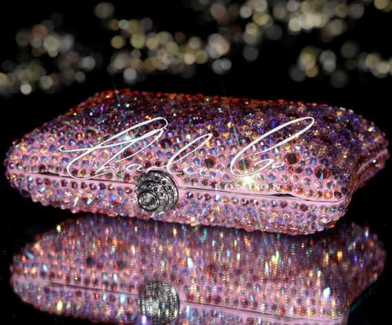 Light Rose AB Half Swarovski and Glass Crystal Clutch Bag