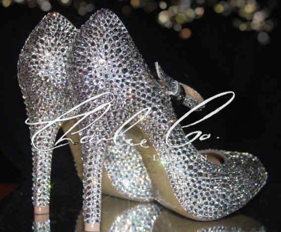 4.5 Mary Jane Crystal Rounded Toe Heels