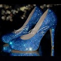 4 or 5 Sapphire AB Blue Crystal Closed Toe Heels