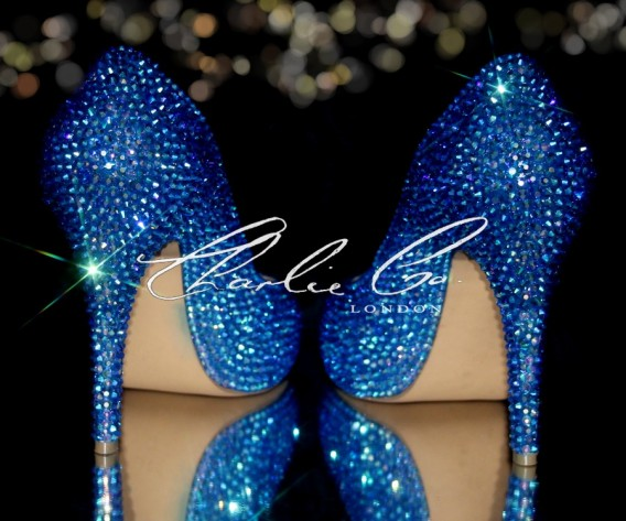 4 or 5 Sapphire AB Blue Crystal Closed Toe Heels
