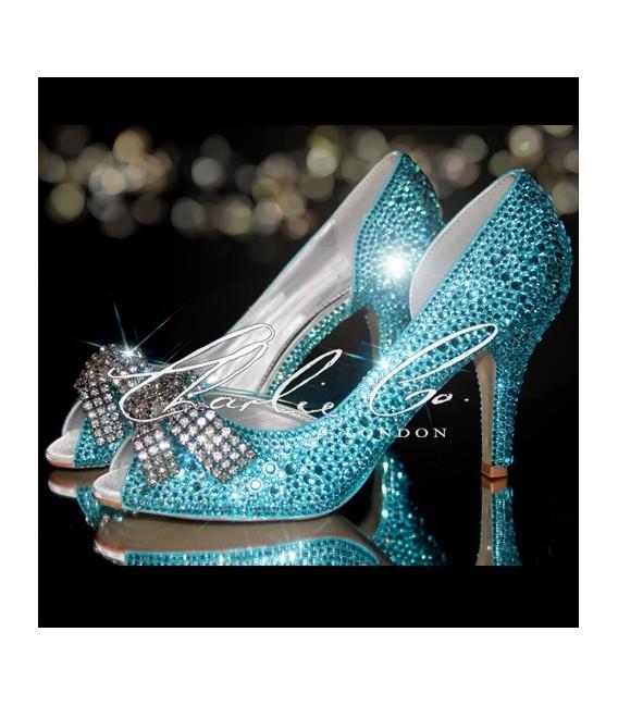 3.5 Tiffany Blue Diamond Bow Crystal Cut Away Heels