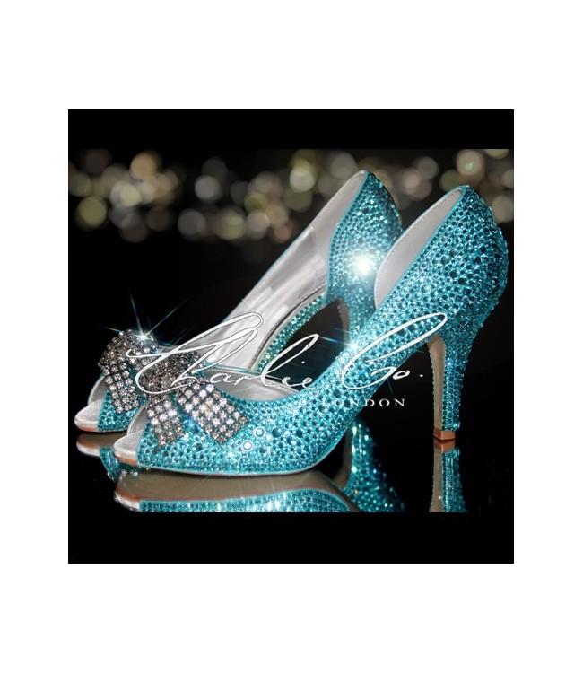 35 tiffany blue diamond bow crystal cut away heels junglespirit Gallery