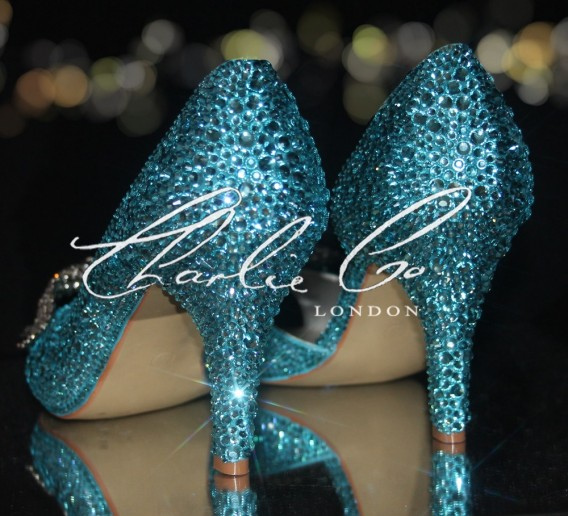 3.5 Tiffany Blue Diamond Bow Crystal Cut Away Heels