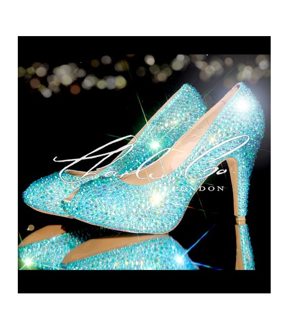 3  4 or 5 Aquamarine AB Crystal Heels