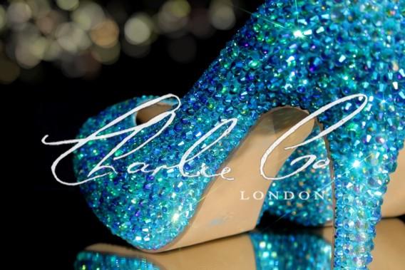 3 4 or 5 Aquamarine AB Crystal Heels
