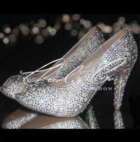 4 or 5 Ivory Pearl  Clear Diamond Heels